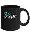 Ovarian Cancer Awareness Teal Ribbon Hope Mug