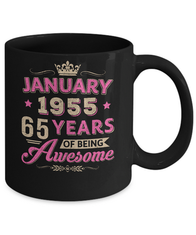 Vintage January 1955 65th Birthday Gift Being Awesome Mug