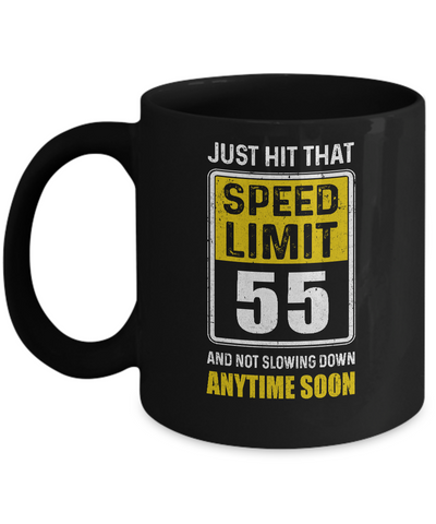 Happy 55th Birthday Gift With Speed Limit Sign 55 Mug