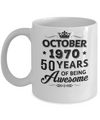 Vintage 1970 October 50Th Birthday Gift Being Awesome Mug