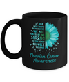 Being Strong Daisy Flower Teal Ovarian Cancer Awareness Mug