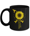 Hummingbird Sunflower Gold Ribbon Childhood Cancer Awareness Mug