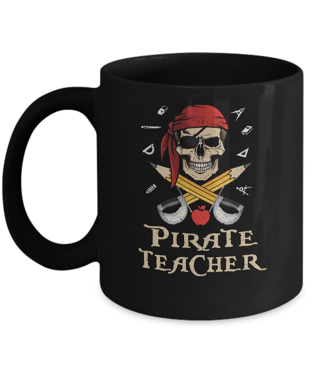 Funny Pirate Teacher Halloween Skull Adult Gift Mug