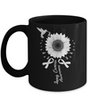 Hummingbird Sunflower White Ribbon Lung Cancer Awareness Mug