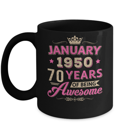 Vintage January 1950 70th Birthday Gift Being Awesome Mug