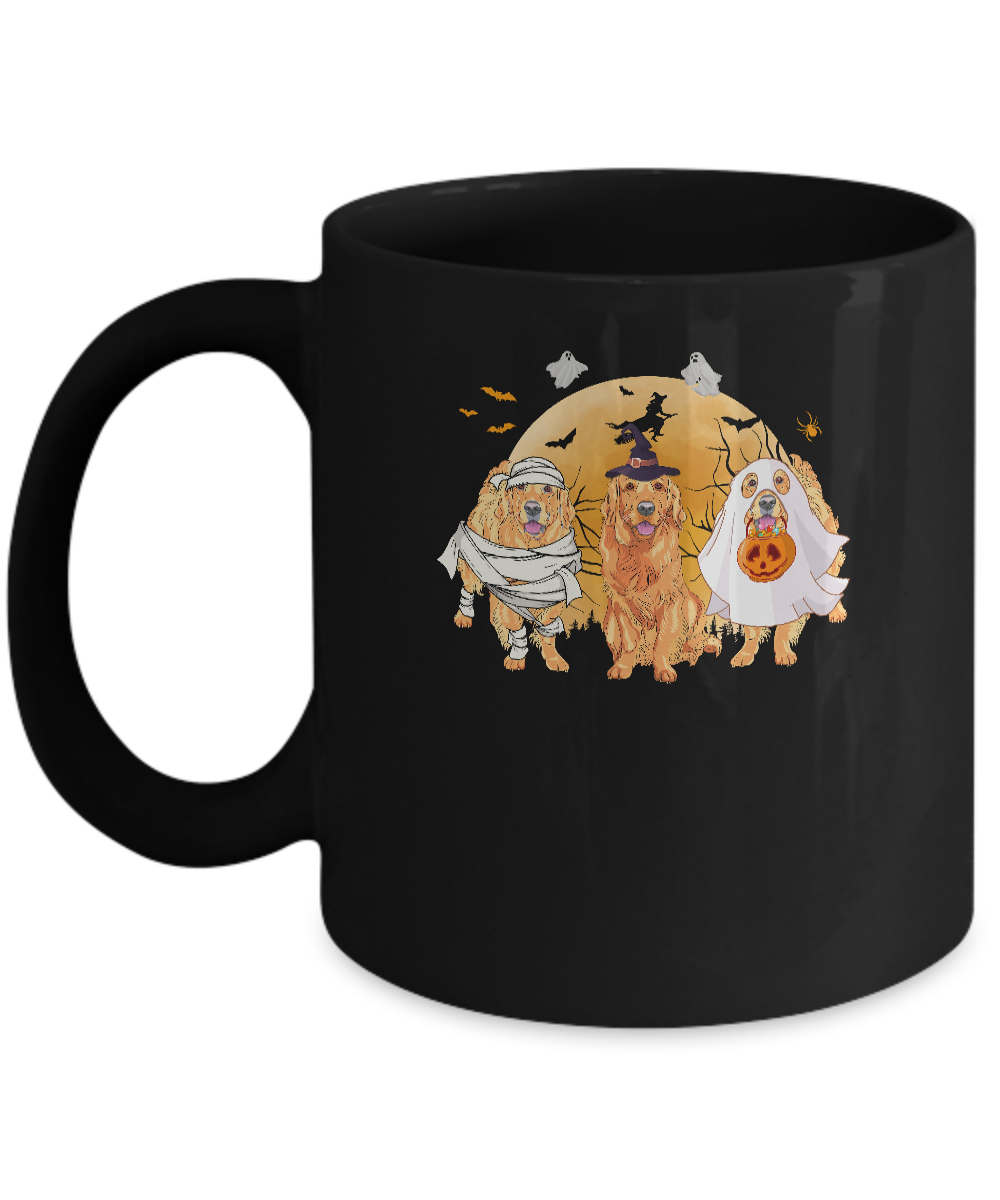 Golden Retriever Mummy Witch Dog Moon Ghosts Halloween Mug