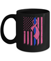 Blue Line Police US Flag Pink Ribbon Breast Cancer Awareness Mug