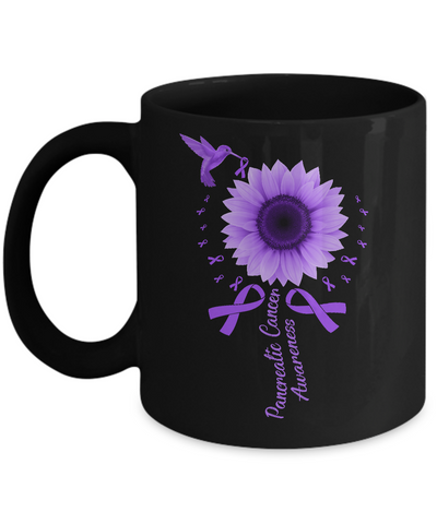 Hummingbird Sunflower Purple Ribbon Pancreatic Cancer Awareness Mug
