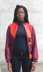 Eggplant and orange women's bombers with sunflowers