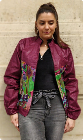 Eggplant women's bombers with diamonds