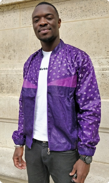 Purple men's bombers with cowrie shell pattern
