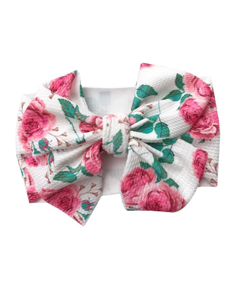 7 Inch Big Bow Rose Print Headband