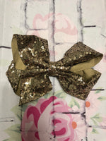 7 Inch Black and Gold Sequence Jumbo Bow