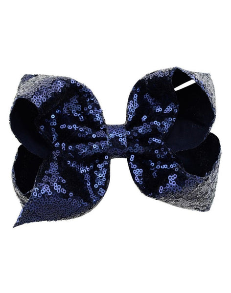 7 Inch Navy Blue Sequence Jumbo Bow
