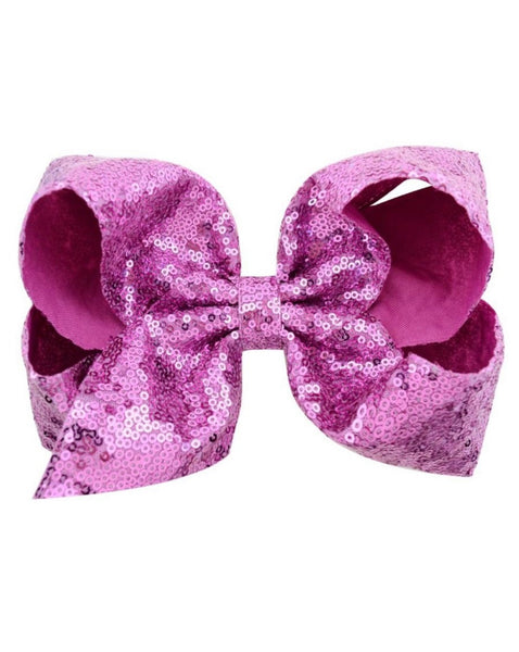 7 Inch Magenta Sequence Jumbo Bow