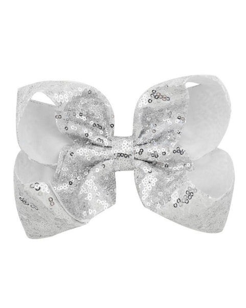 7 Inch White and Silver Sequence Jumbo Bow