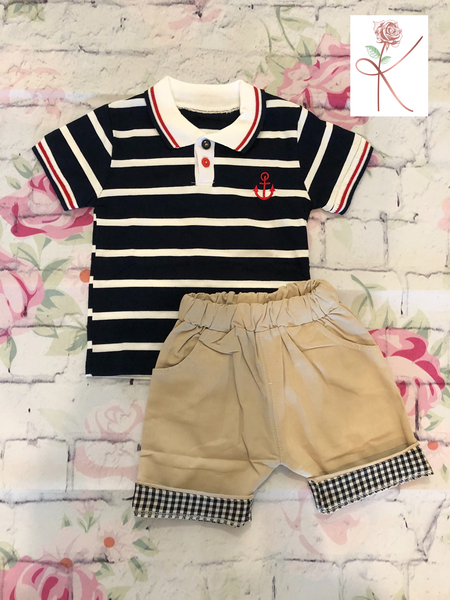 Stripped Polo Shirt with Anchor logo and khaki shorts