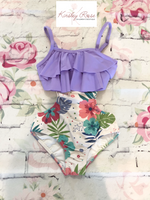 One Piece Color Block Floral Swim Suit