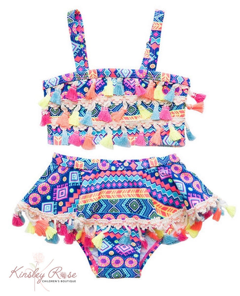 Two Piece Tassel Swim Suit