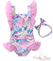 One Piece Flower Swim Suit with Headband
