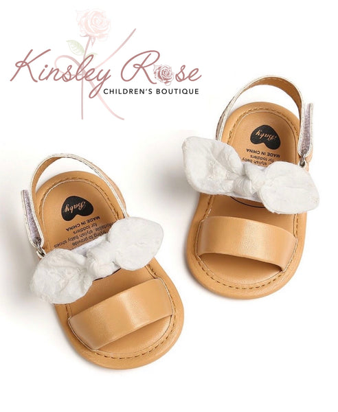 Tan Sandals With White Bow