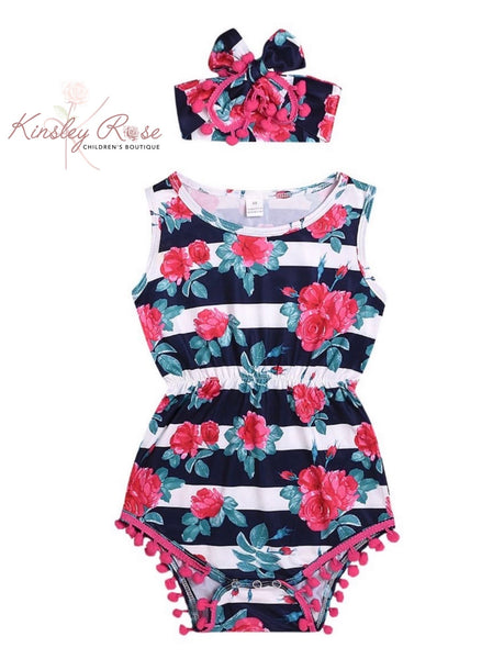 Floral Stripped Romper with Headband
