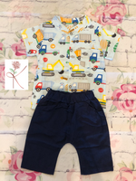 Construction Truck Pattern Shirt with Shorts
