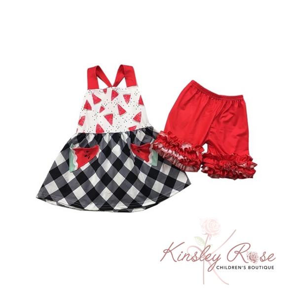 Watermelon ruffle short set