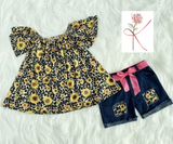 Sunflower/leopard short set
