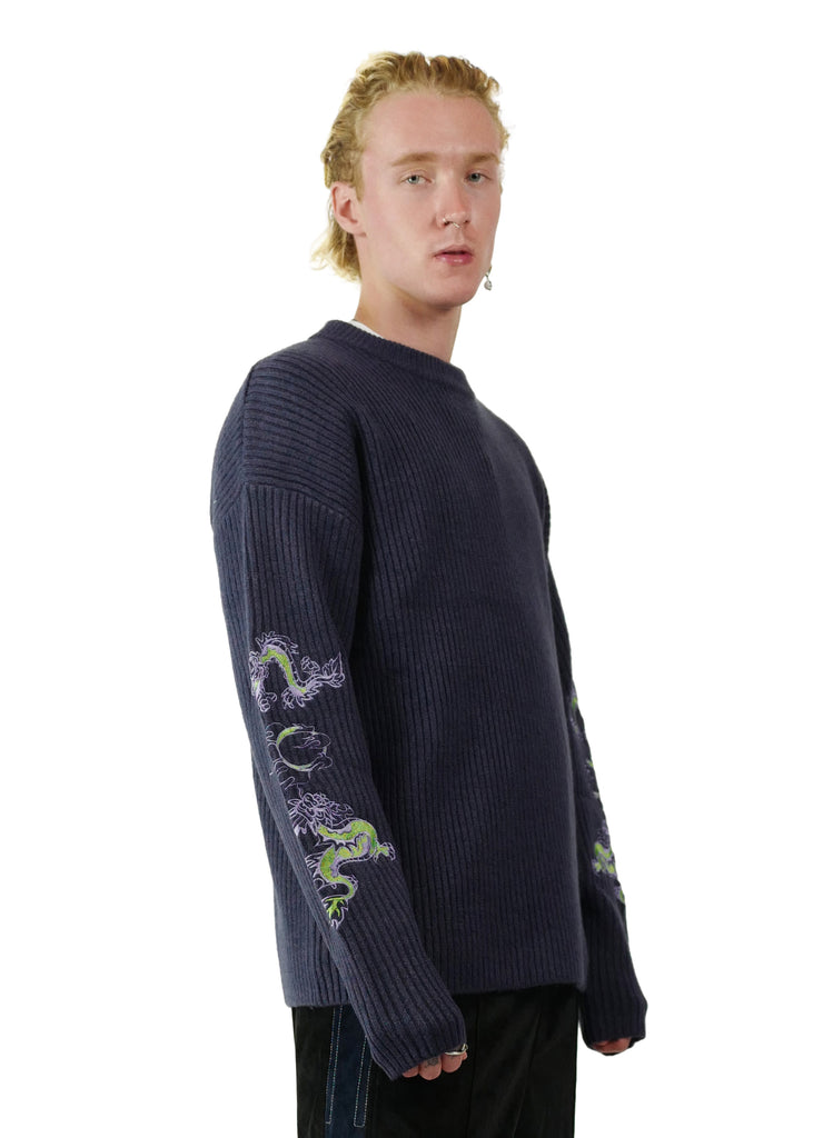 WHOOSIS Chinese Dragon Sweater Purple