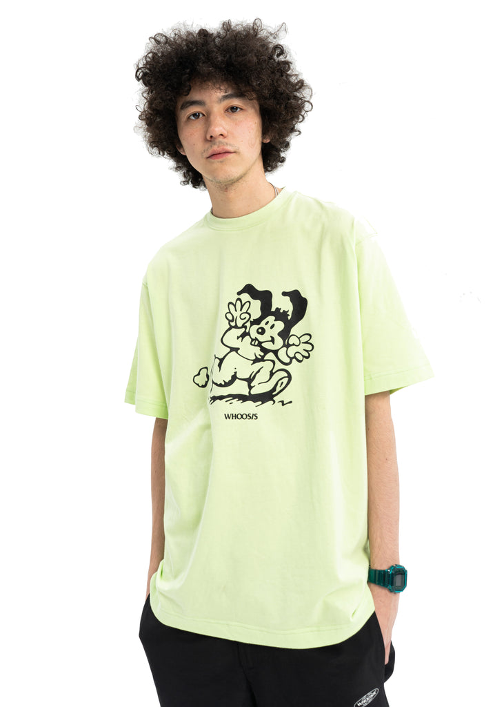 WHOOSIS Running Rabbit Tee Green