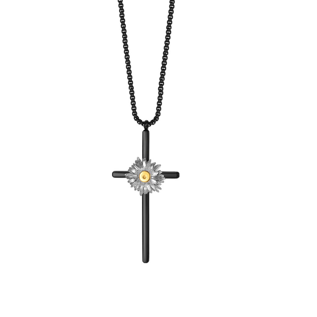 LURS 2020SS Cross Daisy Necklace Black