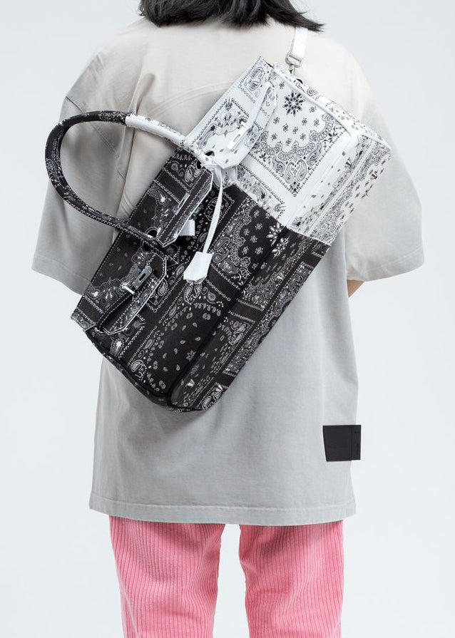 Syugo Paisley Black And White Remade Bandana Bag