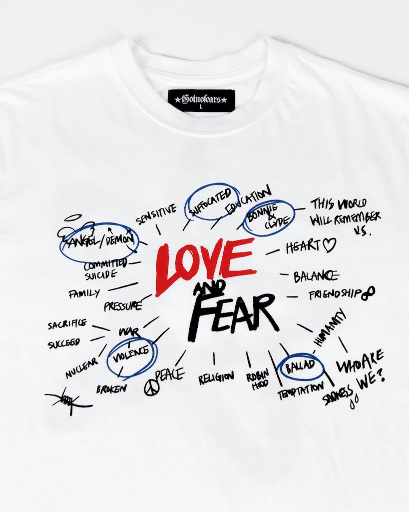 GNF Love And Fear Handwriting Tee White