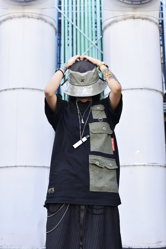 Xotic Patent Leather Double Brim Bucket Hat Army Green