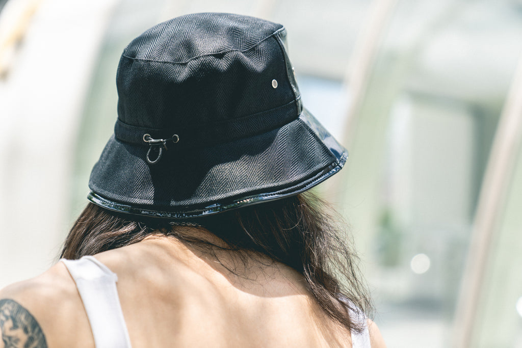 Xotic Patent Leather Double Brim Bucket Hat Black