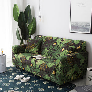 Copri divano | Tropical Leaves Collection | Verde scuro con foglie