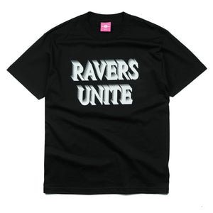 "Load image into Gallery viewer, ""RAVERS UNITE"" Black Tee"