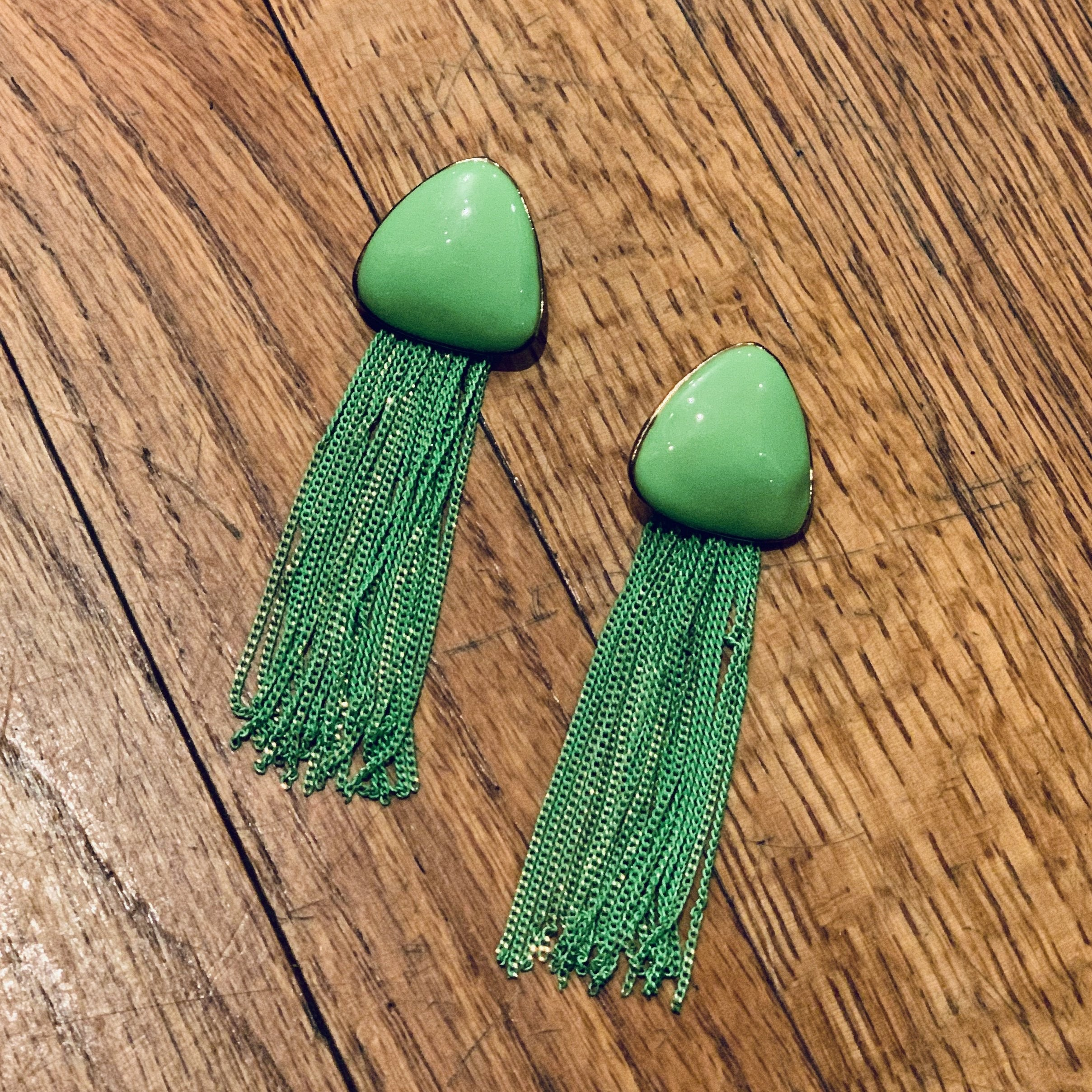 Lime Madi Gras Earrings