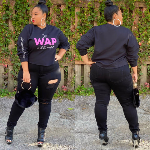 Black WAP Crop Swearshirt