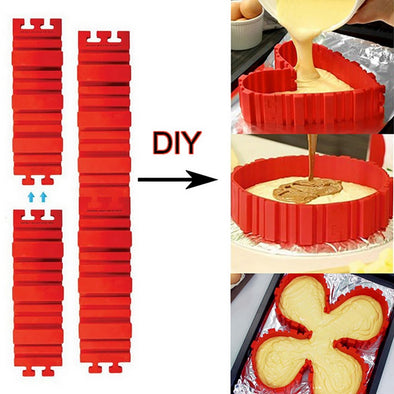 4Pcs Bake Snakes Silicone Bottomless Cake Mold Nonstick Flexible Reusable Create Any Shape of Cake DIY Baking Mould Tools