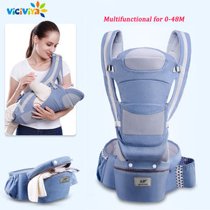 0-48M Ergonomic Baby Carrier Infant Baby Hipseat Carrier Front Facing Ergonomic Kangaroo Baby Wrap Sling for Baby Travel
