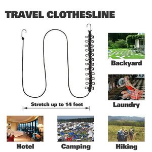 Portable Elastic Camping Clothesline with 12pcs Clips