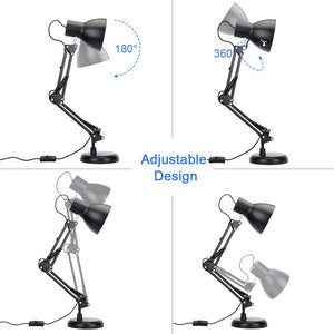Adjustable Swing Arm Desk Lamp with Clamp