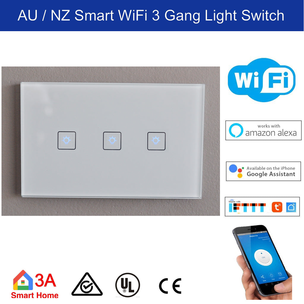 Wifi 3 Gang Smart Light Switch Au Nz Smart Home Store Smartthings Philips Hue Hubitat And Smart Life Automation