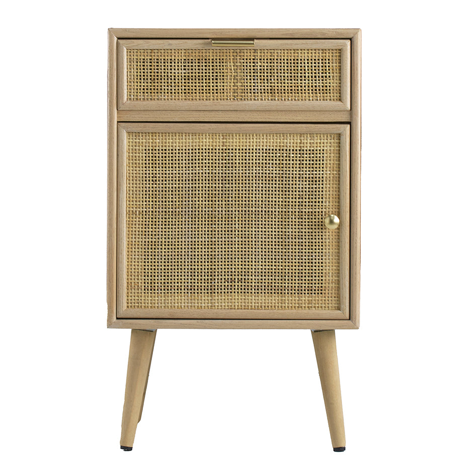 Durban Pine Wood Rattan Side Table