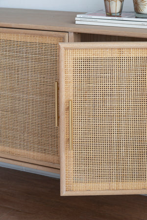 Durban Pine Wood Rattan Buffet Unit