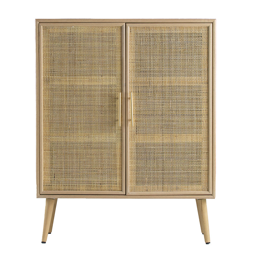 Durban Pine Wood Rattan 2-Door Sideboard