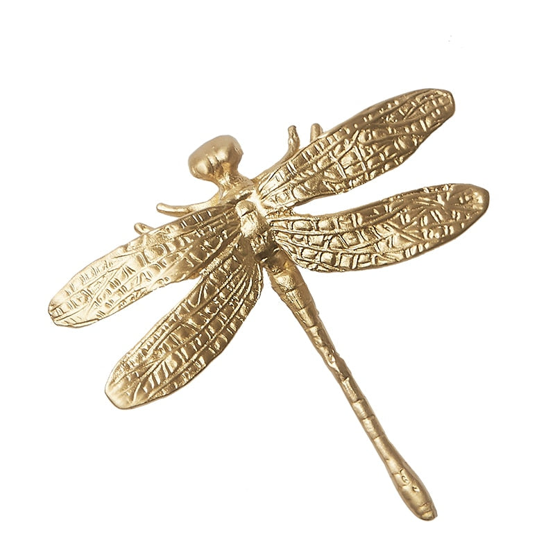Golden Brass Dragonfly Cabinetry Pull Knob
