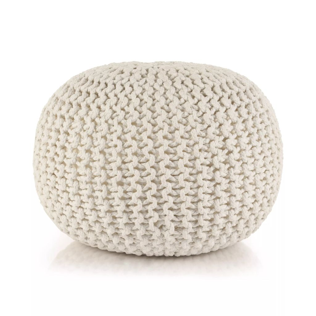 Aria Knitted Pouf (White)